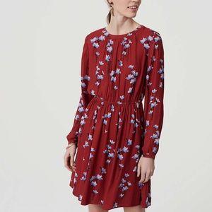 LOFT Red Bluebell Blouson Dress Floral 419776